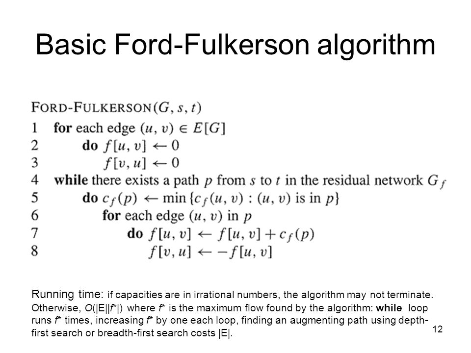 12 Basic Ford-Fulkerson algorithm Running time: if capacities are in irrational numbers, the algorithm may not terminate. Otherwise, O(|E||f*|) where