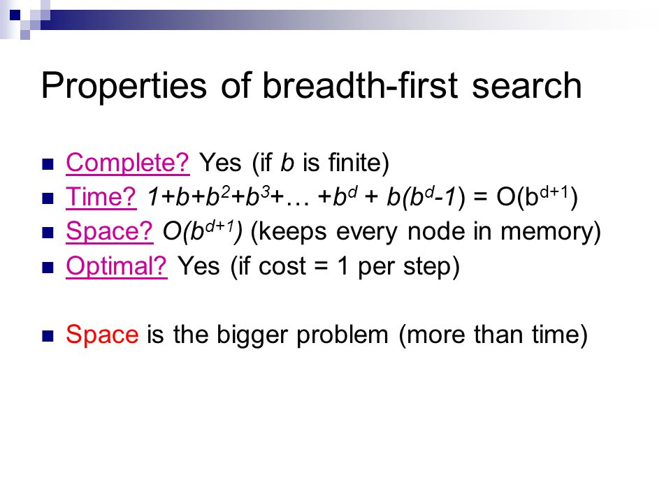 Properties of breadth-first search Complete? Yes (if b is finite) Time? 1+b+b 2 +b 3 +… +b d + b(b d -1) = O(b d+1 ) Space? O(b d+1 ) (keeps every nod