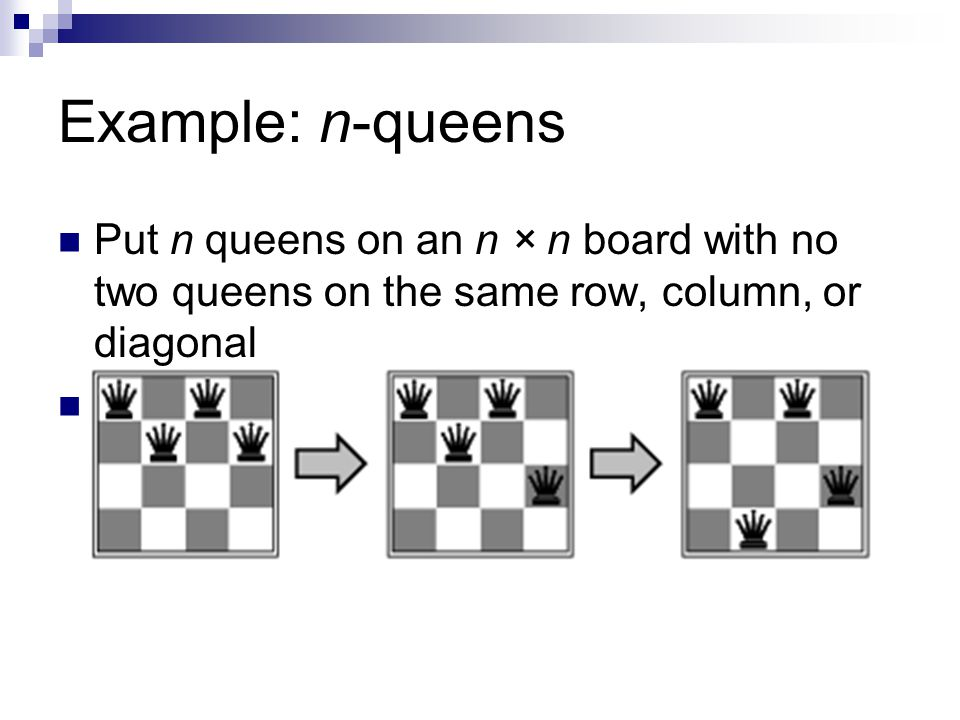 Example: n-queens Put n queens on an n × n board with no two queens on the same row, column, or diagonal