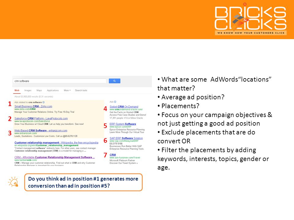What are some AdWords locations that matter. Average ad position.