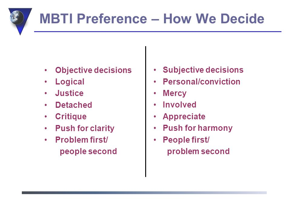 MBTI Preference – Time Management Planned Structured Schedule events Decisive Closure Order Spontaneous Open-ended Adapt to events Flexible Alternatives Random