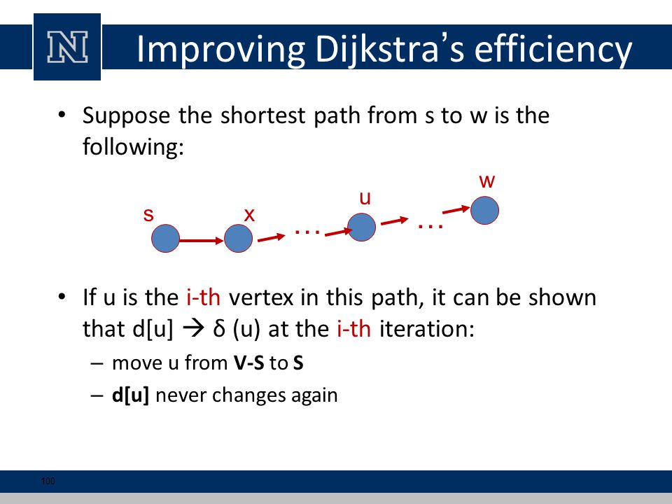 Improving Dijkstra's efficiency Suppose the shortest path from s to w is the following: If u is the i-th vertex in this path, it can be shown that d[u]  δ (u) at the i-th iteration: – move u from V-S to S – d[u] never changes again w sx u … … 100