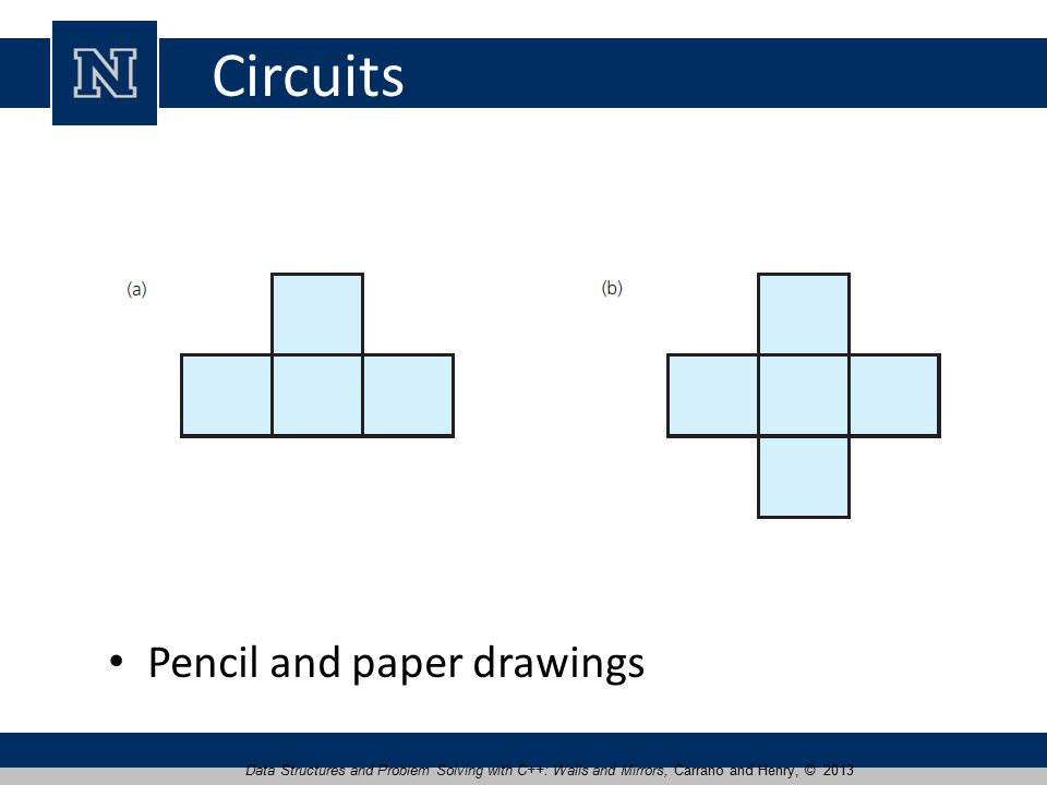 Circuits Pencil and paper drawings Data Structures and Problem Solving with C++: Walls and Mirrors, Carrano and Henry, © 2013