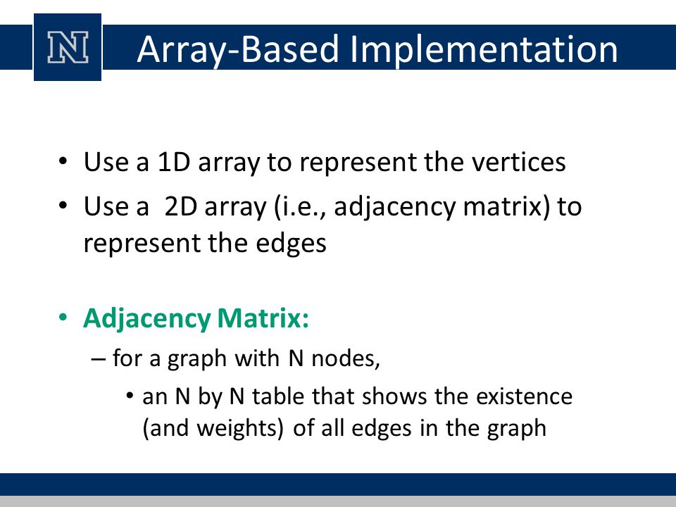 Array-Based Implementation Use a 1D array to represent the vertices Use a 2D array (i.e., adjacency matrix) to represent the edges Adjacency Matrix: – for a graph with N nodes, an N by N table that shows the existence (and weights) of all edges in the graph