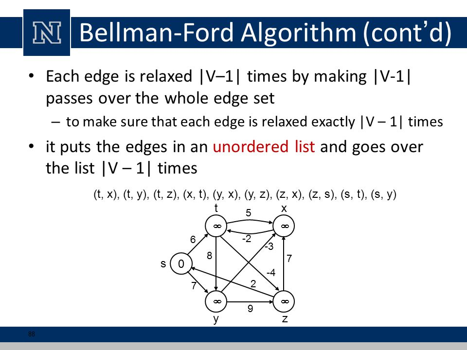 Bellman-Ford Algorithm (cont'd) Each edge is relaxed |V–1| times by making |V-1| passes over the whole edge set – to make sure that each edge is relaxed exactly |V – 1| times it puts the edges in an unordered list and goes over the list |V – 1| times 0   6 5 7 7 9 s tx yz 8 -3 2 -4 -2 (t, x), (t, y), (t, z), (x, t), (y, x), (y, z), (z, x), (z, s), (s, t), (s, y) 88