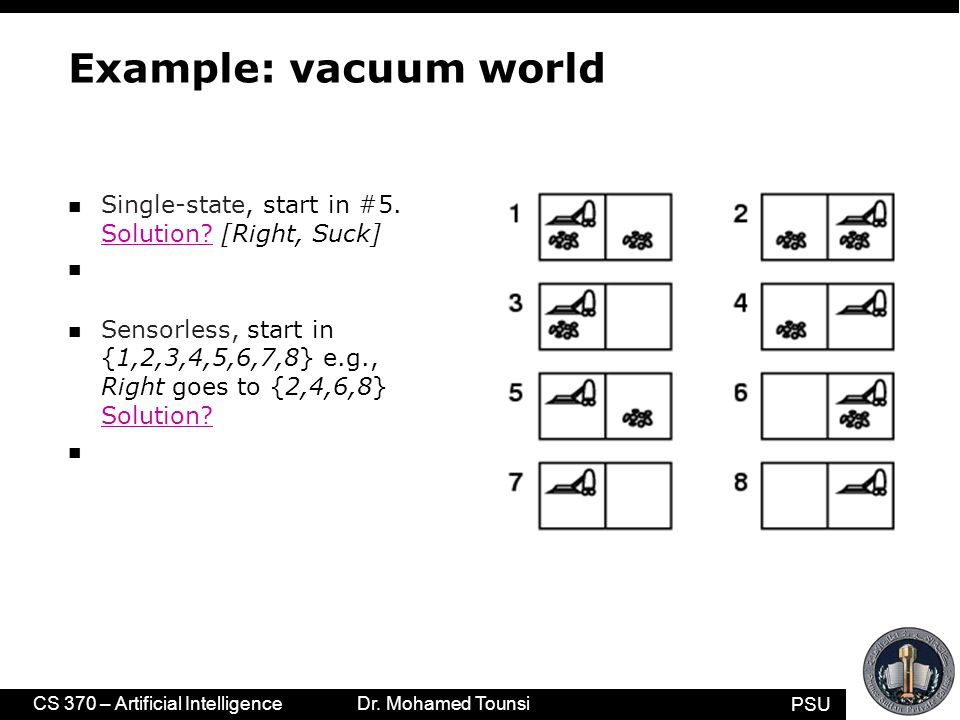 PSU CS 370 – Artificial Intelligence Dr. Mohamed Tounsi Example: vacuum world n Single-state, start in #5. Solution? [Right, Suck] n Sensorless, start