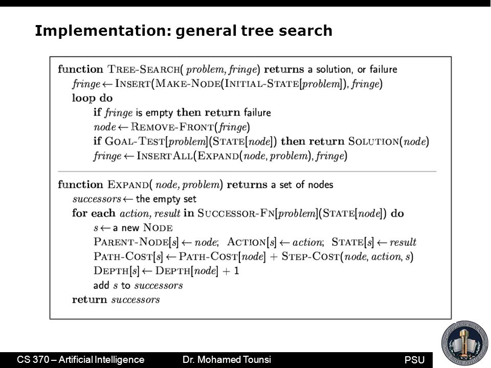 PSU CS 370 – Artificial Intelligence Dr. Mohamed Tounsi Implementation: general tree search