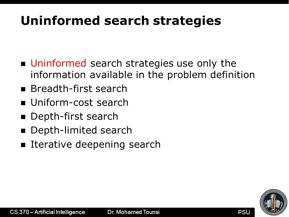PSU CS 370 – Artificial Intelligence Dr. Mohamed Tounsi Uninformed search strategies n Uninformed search strategies use only the information available