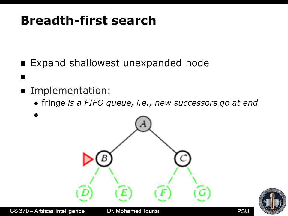 PSU CS 370 – Artificial Intelligence Dr. Mohamed Tounsi Breadth-first search n Expand shallowest unexpanded node n Implementation: l fringe is a FIFO