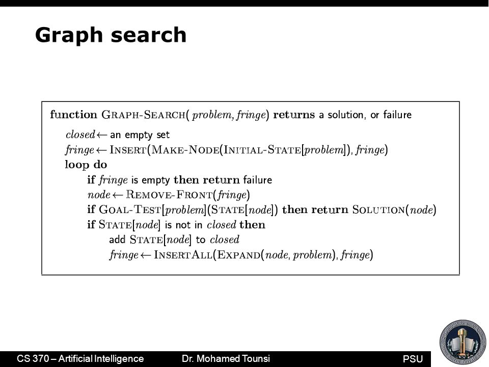 PSU CS 370 – Artificial Intelligence Dr. Mohamed Tounsi Graph search