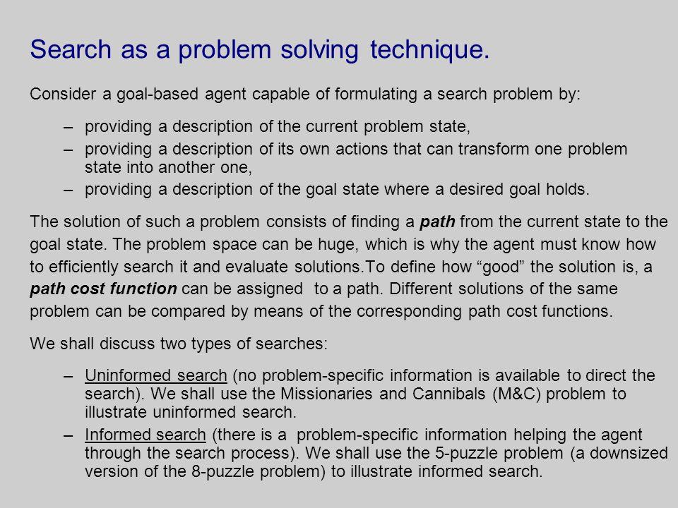 Search as a problem solving technique.