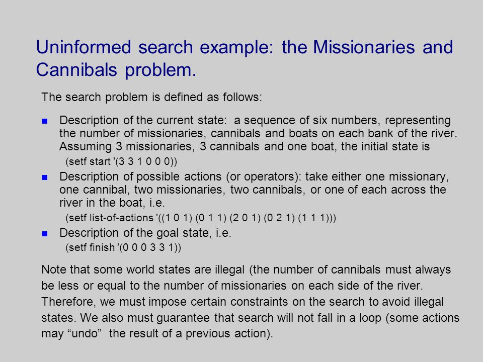Uninformed search example: the Missionaries and Cannibals problem.