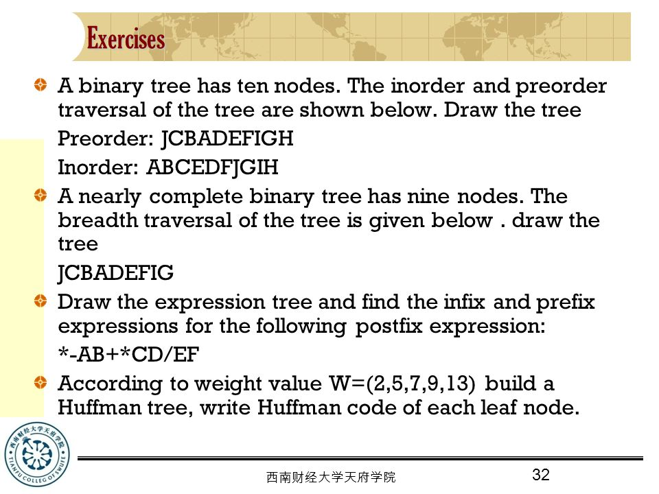 32 西南财经大学天府学院 Exercises A binary tree has ten nodes.