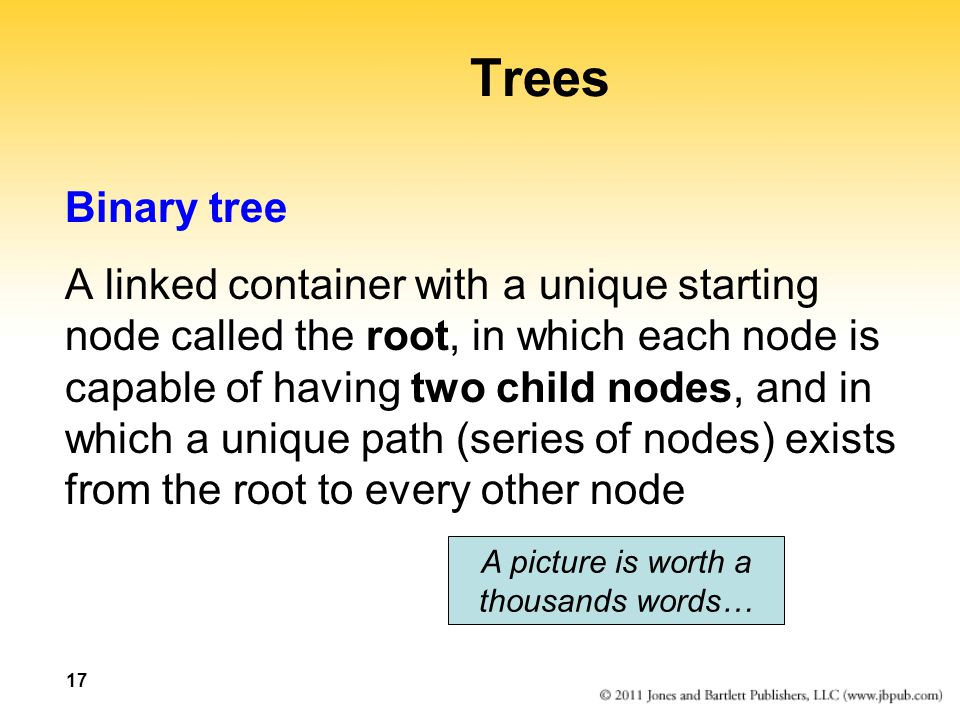 17 Trees Binary tree A linked container with a unique starting node called the root, in which each node is capable of having two child nodes, and in w