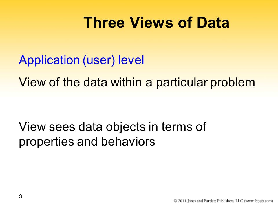 3 Three Views of Data Application (user) level View of the data within a particular problem View sees data objects in terms of properties and behavior