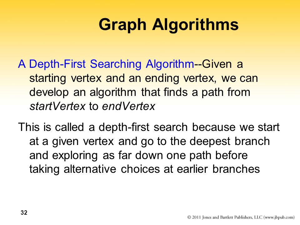 Graph Algorithms A Depth-First Searching Algorithm--Given a starting vertex and an ending vertex, we can develop an algorithm that finds a path from s