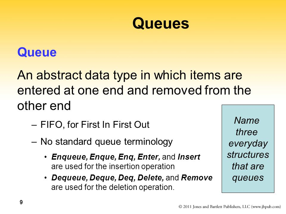 9 Queues Queue An abstract data type in which items are entered at one end and removed from the other end –FIFO, for First In First Out –No standard q