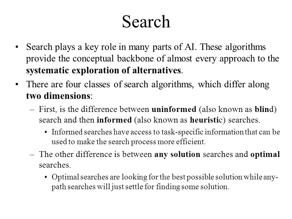 Search Search plays a key role in many parts of AI.