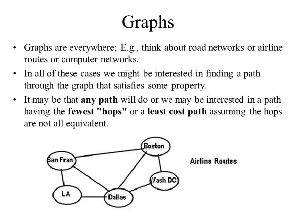 Graphs Graphs are everywhere; E.g., think about road networks or airline routes or computer networks.