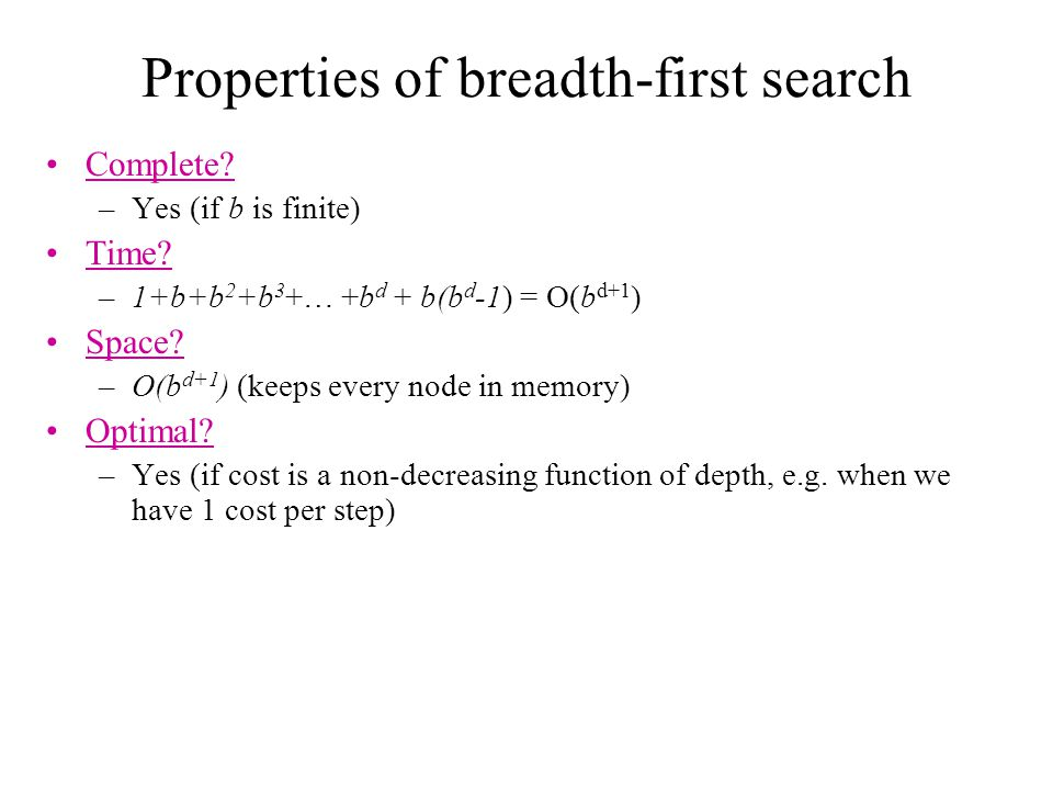 Properties of breadth-first search Complete.–Yes (if b is finite) Time.