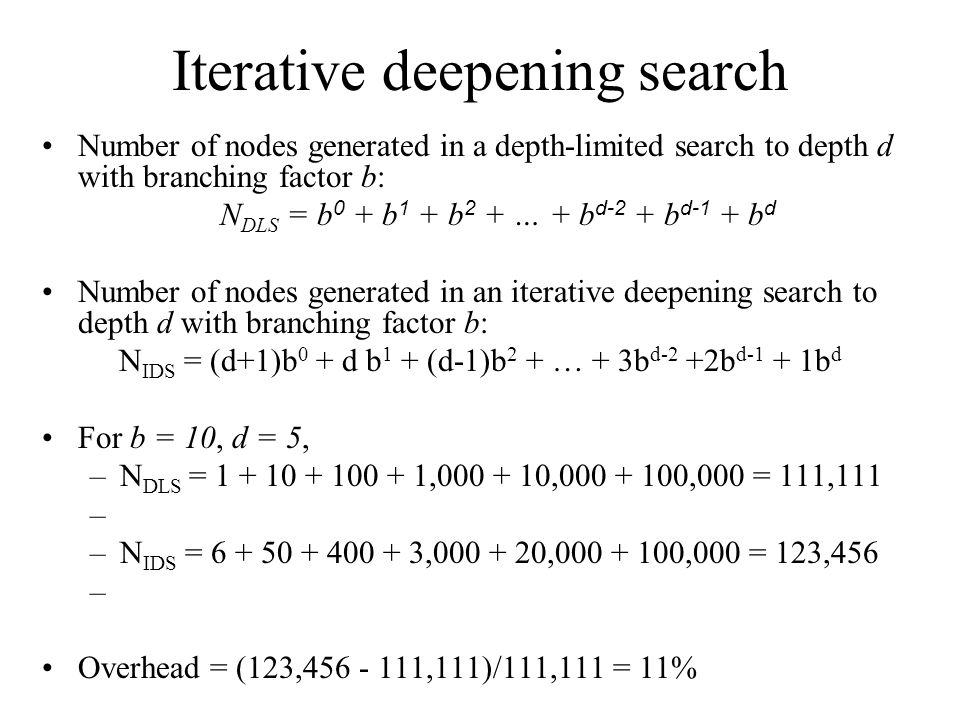 Iterative deepening search Number of nodes generated in a depth-limited search to depth d with branching factor b: N DLS = b 0 + b 1 + b 2 + … + b d-2 + b d-1 + b d Number of nodes generated in an iterative deepening search to depth d with branching factor b: N IDS = (d+1)b 0 + d b 1 + (d-1)b 2 + … + 3b d-2 +2b d-1 + 1b d For b = 10, d = 5, –N DLS = 1 + 10 + 100 + 1,000 + 10,000 + 100,000 = 111,111 –N IDS = 6 + 50 + 400 + 3,000 + 20,000 + 100,000 = 123,456 Overhead = (123,456 - 111,111)/111,111 = 11%