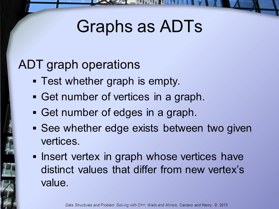 Graphs as ADTs ADT graph operations  Test whether graph is empty.  Get number of vertices in a graph.  Get number of edges in a graph.  See whethe