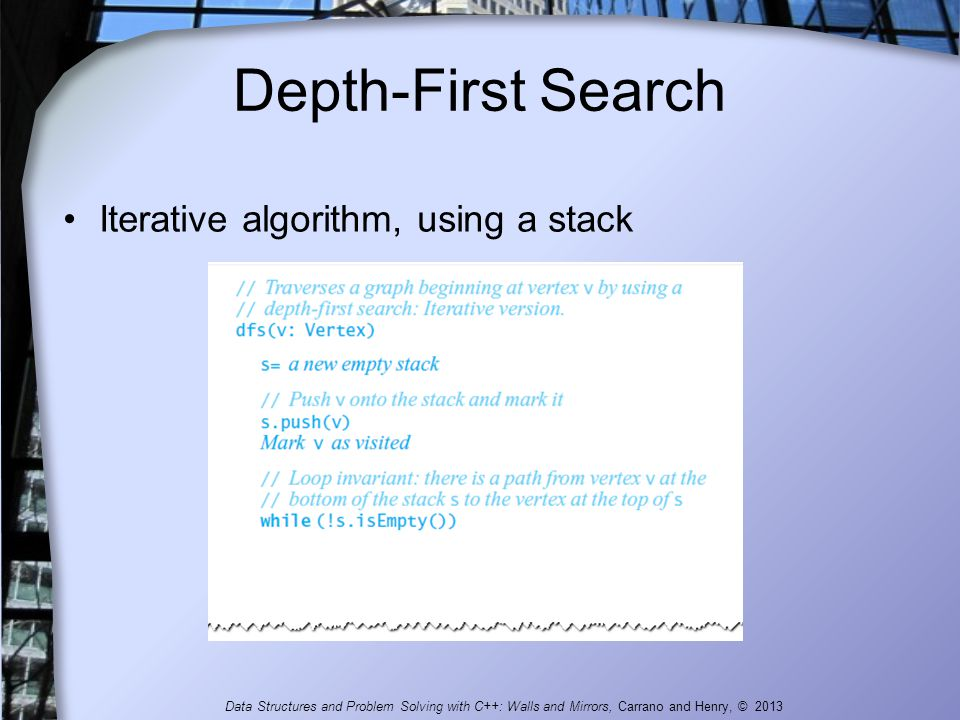 Depth-First Search Iterative algorithm, using a stack Data Structures and Problem Solving with C++: Walls and Mirrors, Carrano and Henry, © 2013