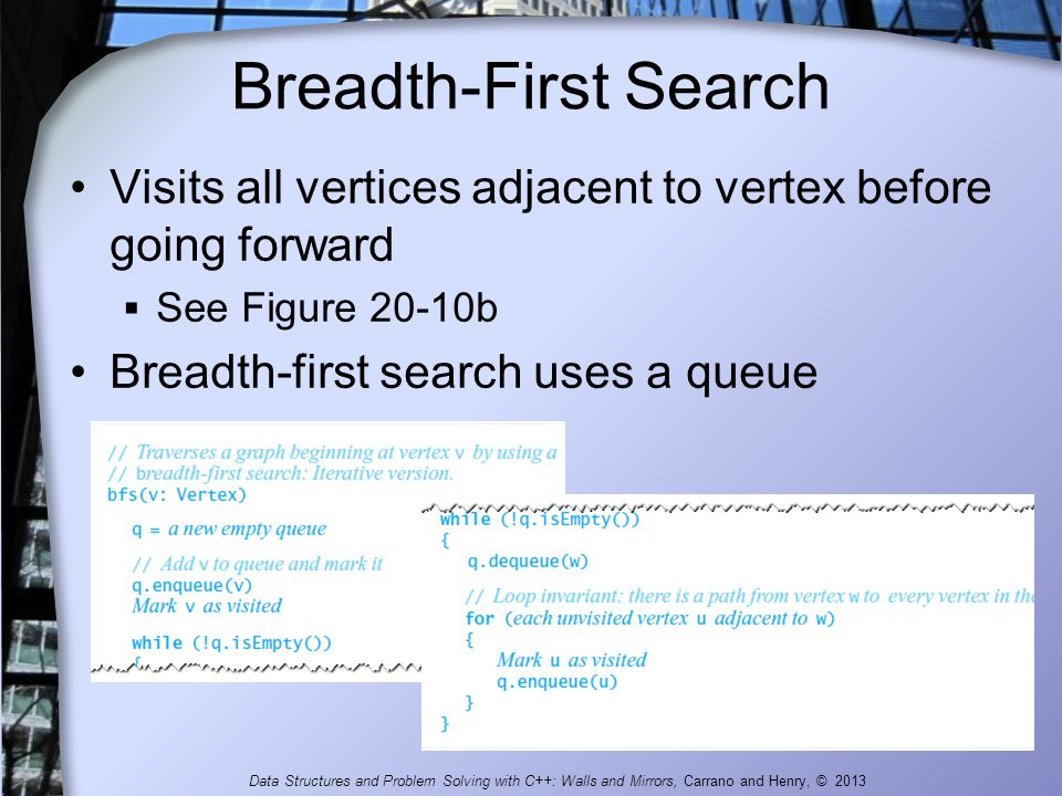 Breadth-First Search Visits all vertices adjacent to vertex before going forward  See Figure 20-10b Breadth-first search uses a queue Data Structures