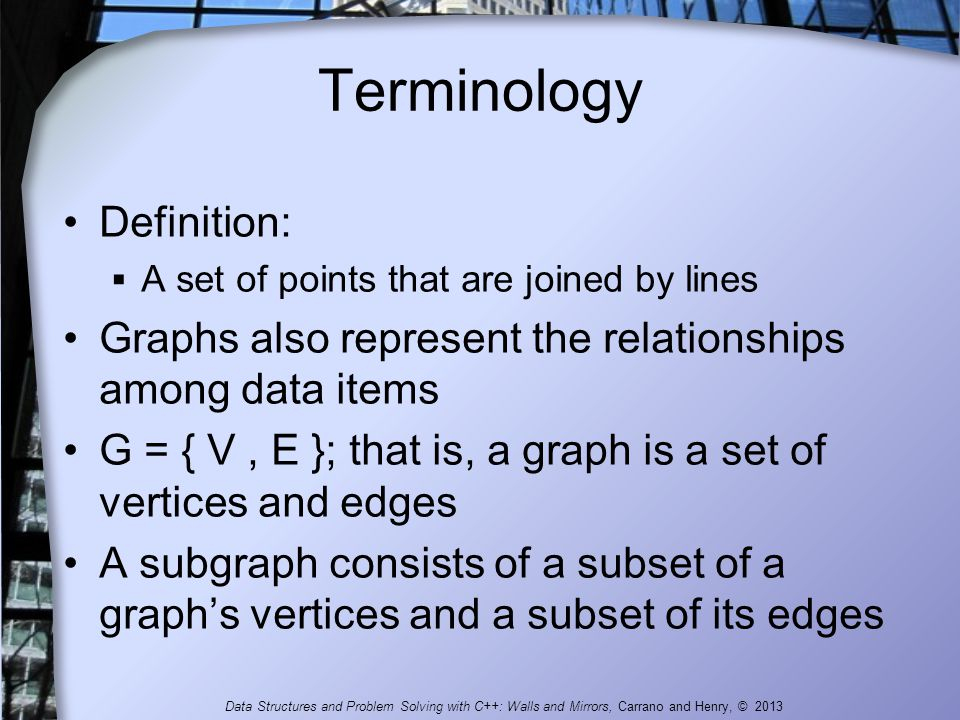 Terminology Definition:  A set of points that are joined by lines Graphs also represent the relationships among data items G = { V, E }; that is, a g