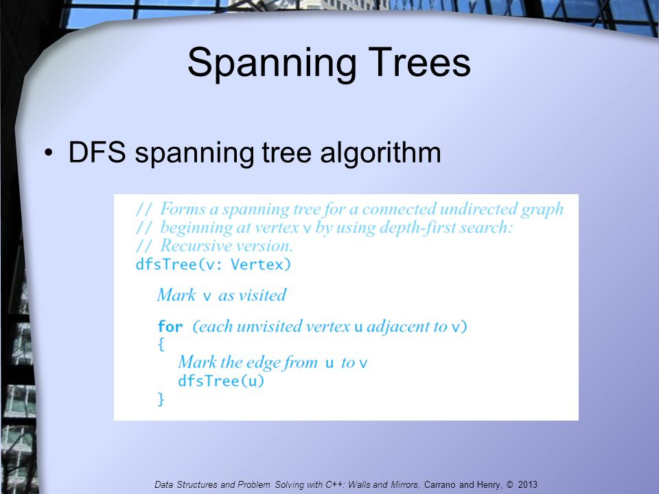 Spanning Trees DFS spanning tree algorithm Data Structures and Problem Solving with C++: Walls and Mirrors, Carrano and Henry, © 2013