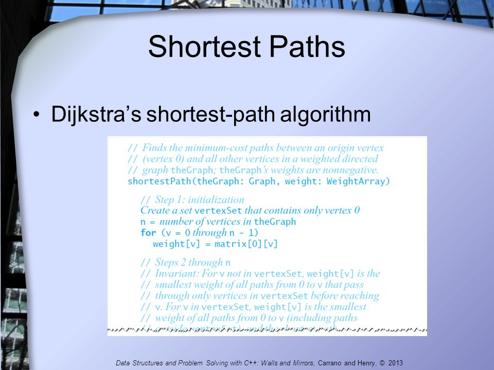 Shortest Paths Dijkstra's shortest-path algorithm Data Structures and Problem Solving with C++: Walls and Mirrors, Carrano and Henry, © 2013