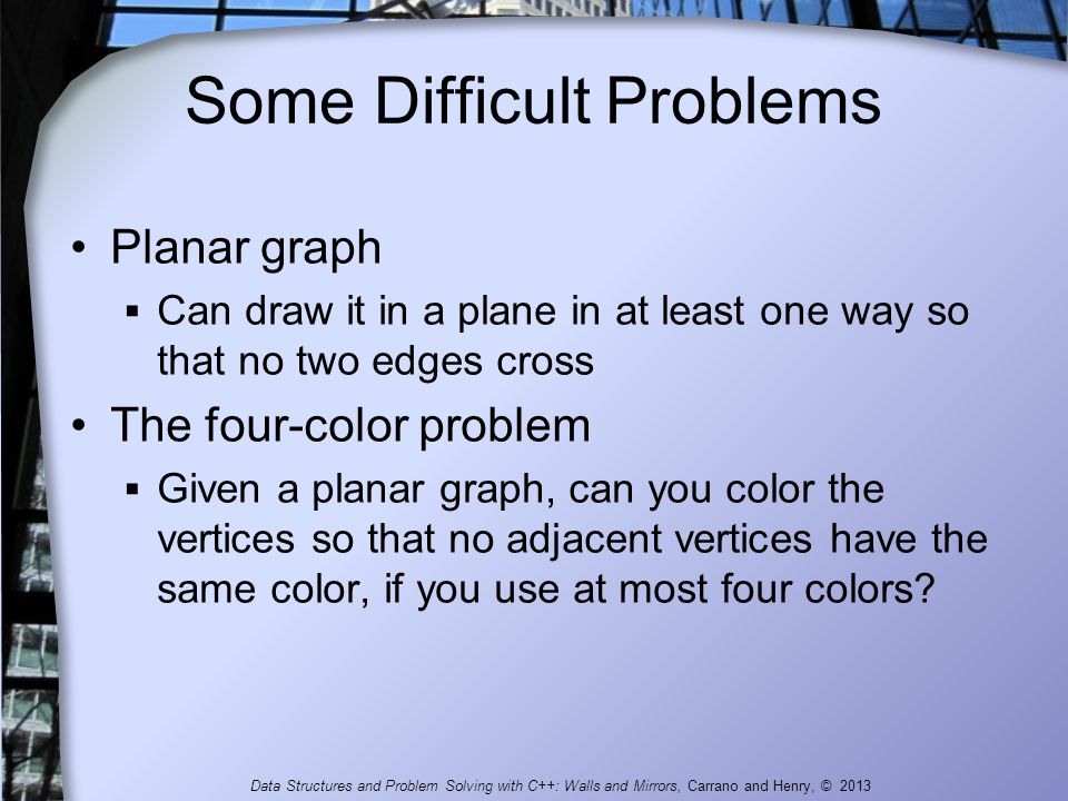 Some Difficult Problems Planar graph  Can draw it in a plane in at least one way so that no two edges cross The four-color problem  Given a planar g