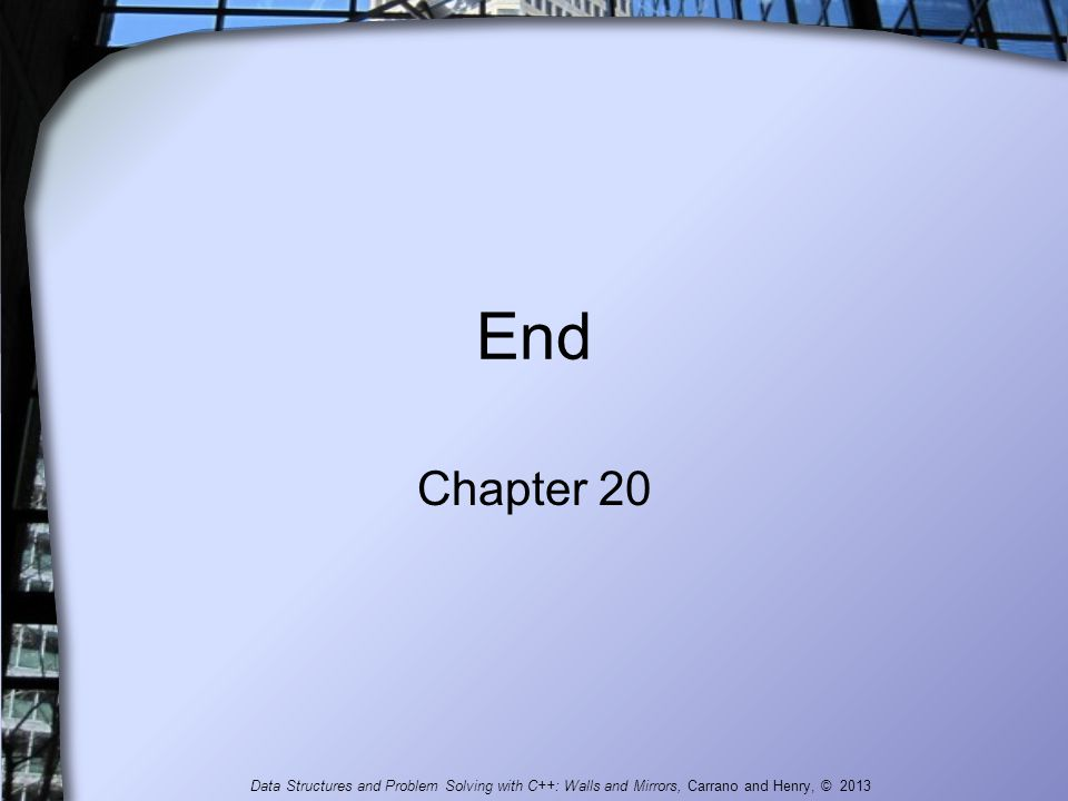 End Chapter 20 Data Structures and Problem Solving with C++: Walls and Mirrors, Carrano and Henry, © 2013