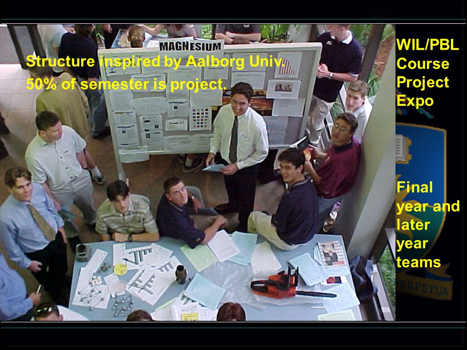 WIL/PBL Course Project Expo Final year and later year teams Structure inspired by Aalborg Univ. 50% of semester is project.