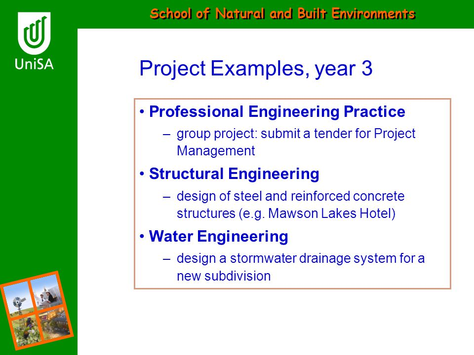 School of Natural and Built Environments Project Examples, year 3 Professional Engineering Practice –group project: submit a tender for Project Manage