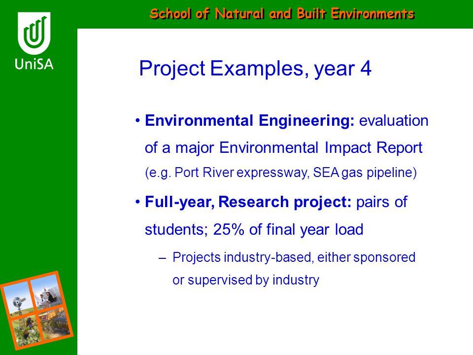 School of Natural and Built Environments Environmental Engineering: evaluation of a major Environmental Impact Report (e.g. Port River expressway, SEA