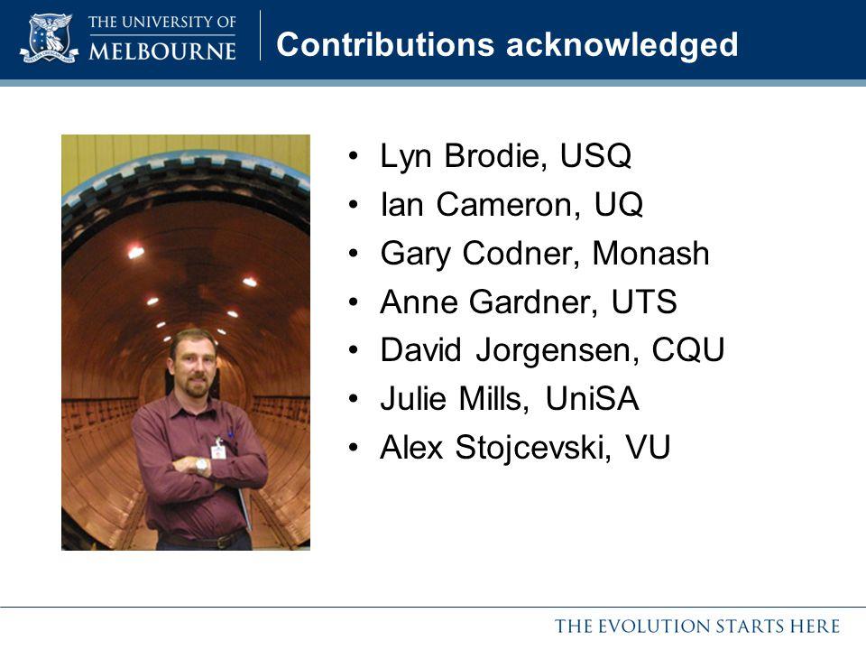 Contributions acknowledged Lyn Brodie, USQ Ian Cameron, UQ Gary Codner, Monash Anne Gardner, UTS David Jorgensen, CQU Julie Mills, UniSA Alex Stojcevs