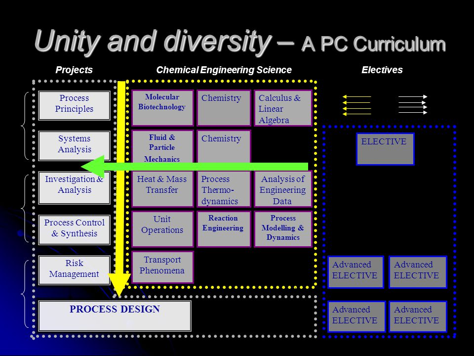 Unity and diversity – A PC Curriculum Process Principles Systems Analysis Investigation & Analysis Process Control & Synthesis Risk Management PROCESS