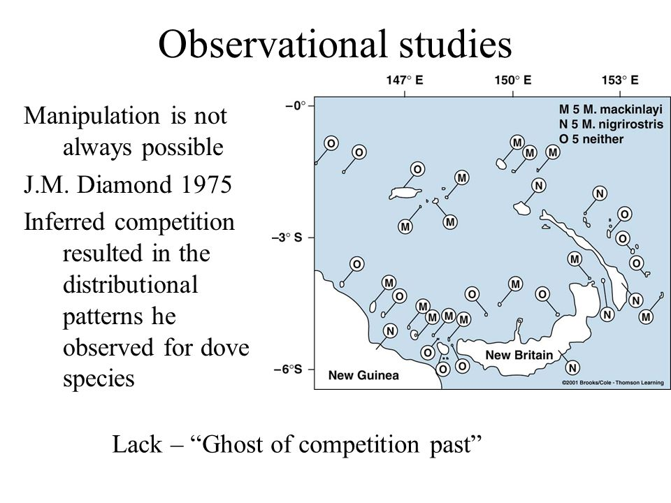 Observational studies Manipulation is not always possible J.M. Diamond 1975 Inferred competition resulted in the distributional patterns he observed f