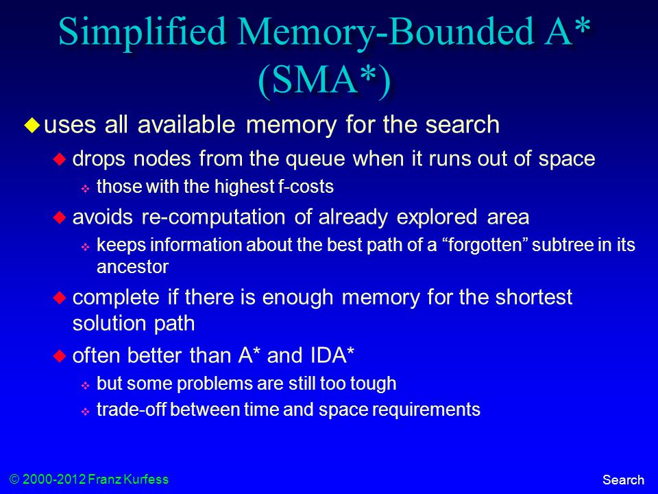 © 2000-2012 Franz Kurfess Search Simplified Memory-Bounded A* (SMA*)  uses all available memory for the search  drops nodes from the queue when it runs out of space  those with the highest f-costs  avoids re-computation of already explored area  keeps information about the best path of a forgotten subtree in its ancestor  complete if there is enough memory for the shortest solution path  often better than A* and IDA*  but some problems are still too tough  trade-off between time and space requirements