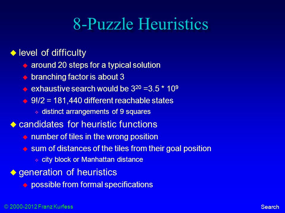 © 2000-2012 Franz Kurfess Search 8-Puzzle Heuristics  level of difficulty  around 20 steps for a typical solution  branching factor is about 3  exhaustive search would be 3 20 =3.5 * 10 9  9!/2 = 181,440 different reachable states  distinct arrangements of 9 squares  candidates for heuristic functions  number of tiles in the wrong position  sum of distances of the tiles from their goal position  city block or Manhattan distance  generation of heuristics  possible from formal specifications