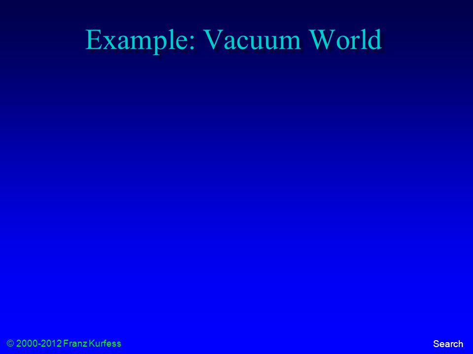 © 2000-2012 Franz Kurfess Search Example: Vacuum World