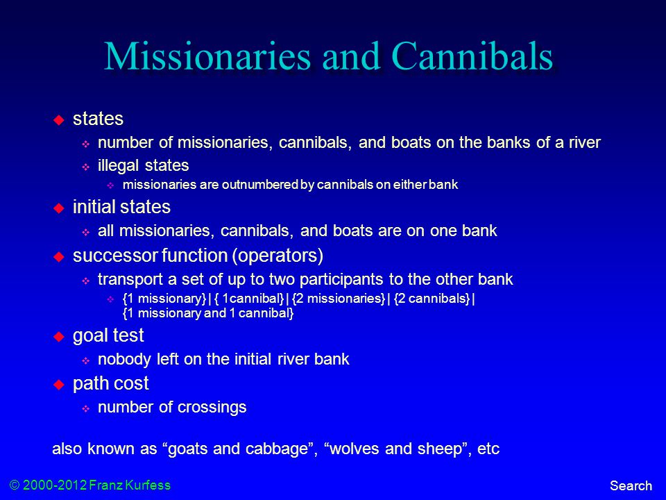 © 2000-2012 Franz Kurfess Search Missionaries and Cannibals  states  number of missionaries, cannibals, and boats on the banks of a river  illegal states  missionaries are outnumbered by cannibals on either bank  initial states  all missionaries, cannibals, and boats are on one bank  successor function (operators)  transport a set of up to two participants to the other bank  {1 missionary} | { 1cannibal} | {2 missionaries} | {2 cannibals} | {1 missionary and 1 cannibal}  goal test  nobody left on the initial river bank  path cost  number of crossings also known as goats and cabbage , wolves and sheep , etc