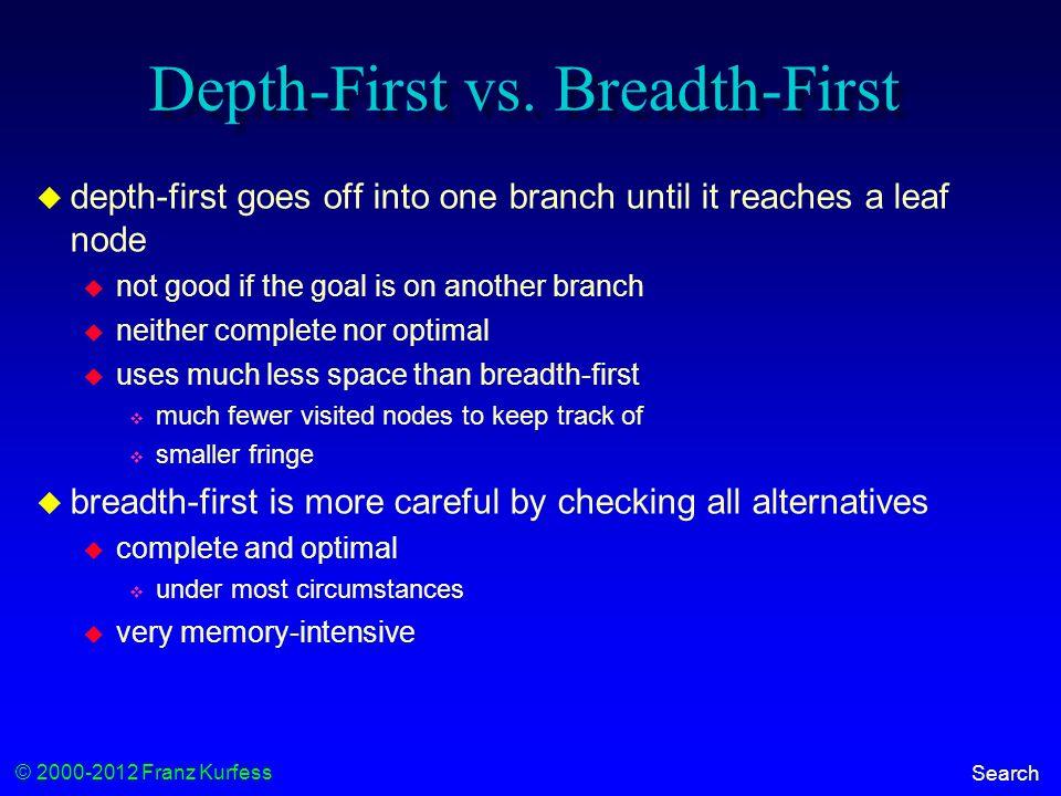 © 2000-2012 Franz Kurfess Search Depth-First vs.