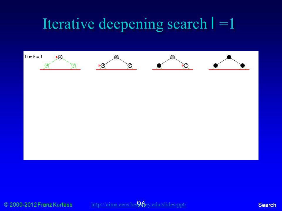© 2000-2012 Franz Kurfess Search 96 Iterative deepening search l =1 http://aima.eecs.berkeley.edu/slides-ppt/