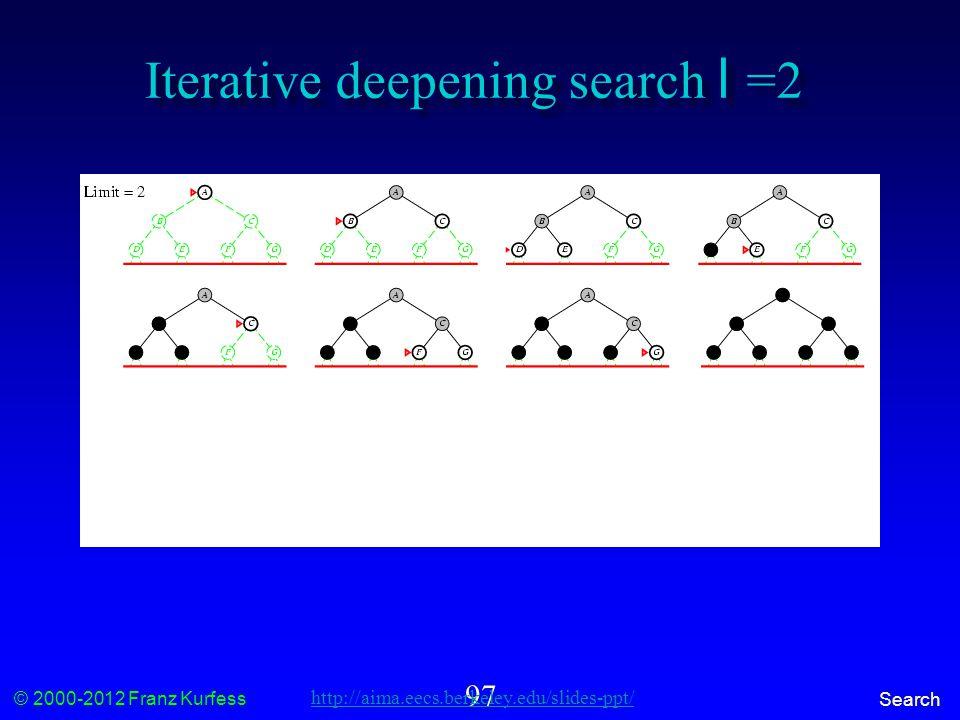 © 2000-2012 Franz Kurfess Search 97 Iterative deepening search l =2 http://aima.eecs.berkeley.edu/slides-ppt/