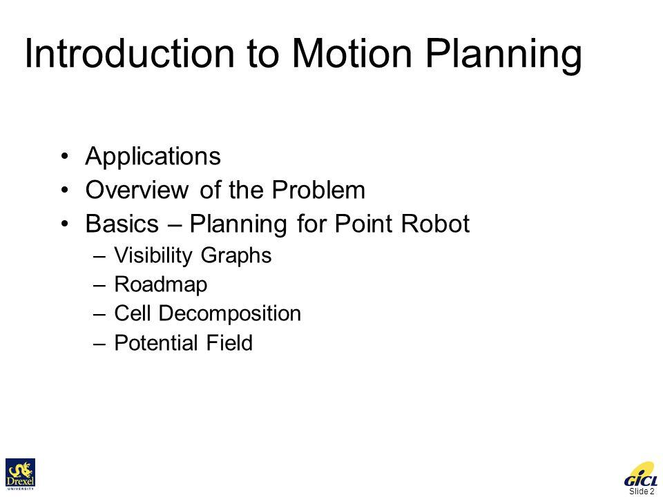 Slide 63 Configuration Space: 2D Translation Workspace Configuration Space x y Robot Start Goal Free Obstacle C- obstacle