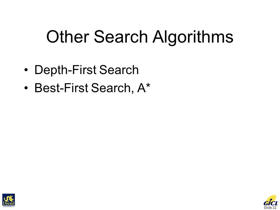 Slide 32 Other Search Algorithms Depth-First Search Best-First Search, A*