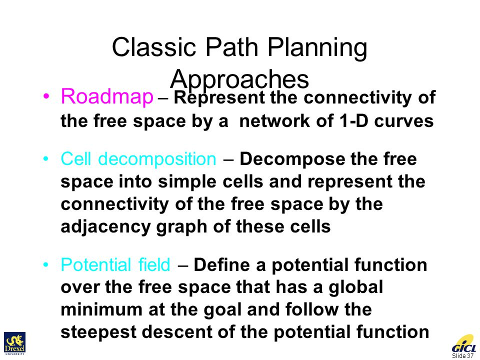Slide 37 Classic Path Planning Approaches Roadmap – Represent the connectivity of the free space by a network of 1-D curves Cell decomposition – Decompose the free space into simple cells and represent the connectivity of the free space by the adjacency graph of these cells Potential field – Define a potential function over the free space that has a global minimum at the goal and follow the steepest descent of the potential function
