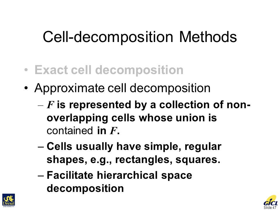 Slide 47 Cell-decomposition Methods Exact cell decomposition Approximate cell decomposition –F is represented by a collection of non- overlapping cells whose union is contained in F.